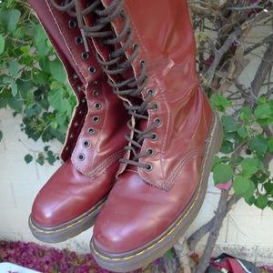 DR MARTEN 20 eye Knee High Boots Smooth Maroon 8.5